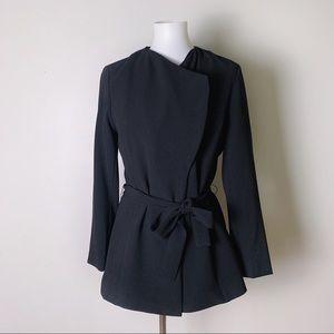ADRIENNE VITTADINI Tie Waist Crepe Blazer Jacket